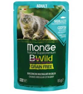 Monge BWild Cat Adult Bocconcini con Merluzzo, Gamberetti e Ortaggi 85 g. SEC01282
