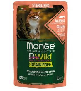 Monge BWild Cat Sterilized Bocconcini con Salmone, Gamberetti e Ortaggi 85 g. SEC01284