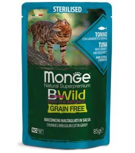 Monge BWild Cat Sterilized Bocconcini con Tonno, Gamberetti e Ortaggi 85 g. SEC01285