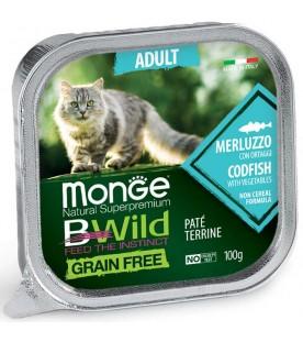 Monge BWild Cat Adult Patè con Merluzzo e Ortaggi 100 g. SEC01288