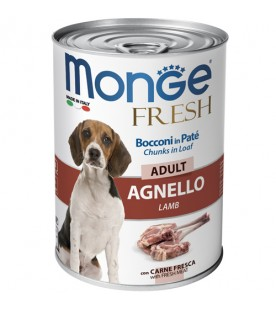 Monge Fresh Dog Bocconi in Paté Agnello 400 g. SEC00953