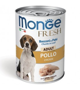 Monge Fresh Dog Bocconi in Paté Pollo 400 g. SEC00950