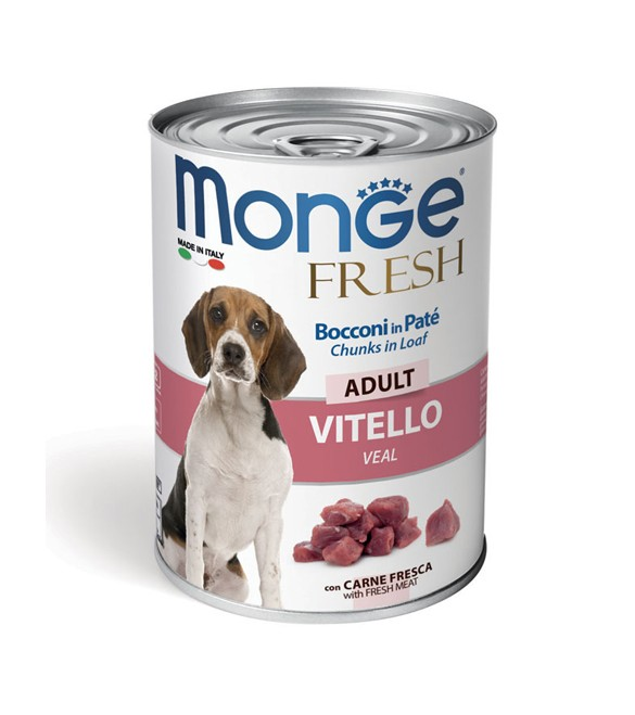 Monge Fresh Dog Bocconi in Paté Vitello 400 g. SEC00948