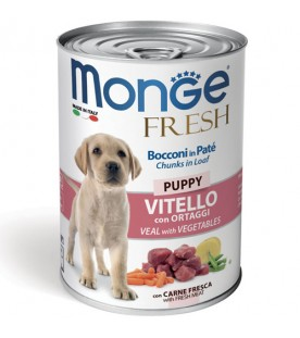 Monge Fresh Dog Bocconi in Paté Vitello con Ortaggi – Puppy 400 g. SEC00947